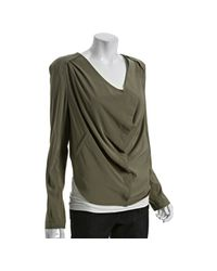 BCBGeneration   Green Moss Stone Woven Cowl Front Jacket   Lyst
