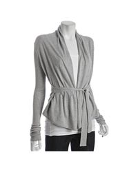 BCBGMAXAZRIA - Gray Heather Grey Silk-cotton Wrap Cardigan - Lyst