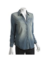 BCBGMAXAZRIA | Blue Ocean Mist Stretch Cotton Zip Cuff Shirt | Lyst