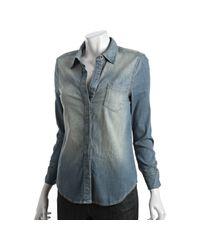 BCBGMAXAZRIA - Blue Ocean Mist Stretch Cotton Zip Cuff Shirt - Lyst