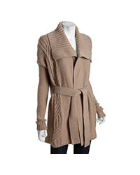 BCBGMAXAZRIA | Brown Tan Wool Blend Cable Knit Cardigan Sweater | Lyst