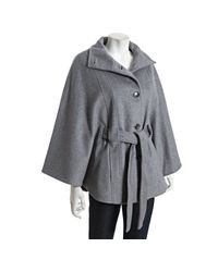 Calvin Klein | Gray Tin Wool Blend Belted Cape | Lyst