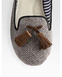 Charles Philip | Gray Sophie Wool Herringbone Tassel Loafers | Lyst