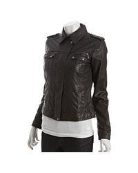 Cole Haan - Black Lambskin Leather Pieced Jacket - Lyst