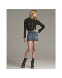 Dolce & Gabbana | Blue Stretch Distressed Denim Button Detail Mini Skirt | Lyst