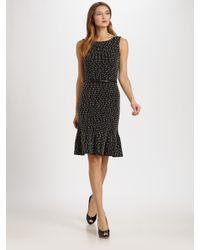 Dior | Black Belted Cotton Tweed Dress | Lyst