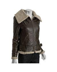 DKNY | Brown Dark Loden Leather Faux Shearling Aviator Jacket | Lyst
