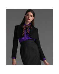 Dolce & Gabbana | Black Wool Crepe Cropped Jacket | Lyst