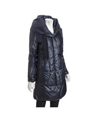 Elie Tahari | Empire Blue Quilted Lisa Down Hooded Coat | Lyst