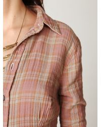 Free People - Brown Plaid Button Down with Gingham Top - Lyst