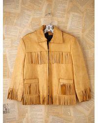 Free People | Brown Vintage Fringe Leather Jacket | Lyst