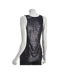 French Connection - Black Speckled Sequin Violet Thunder Beaded Trim Tank - Lyst