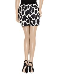 Giambattista Valli | Black Giraffe-print Ramie Shorts | Lyst
