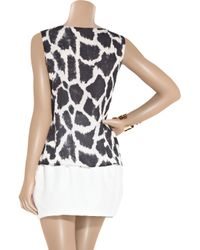 Giambattista Valli | Black Silk-chiffon Giraffe-print Top | Lyst