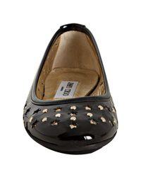 Jimmy Choo - Black Patent Leather Wisdom Cutout Flats - Lyst