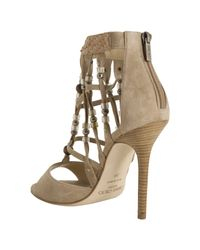 Jimmy Choo - Natural Nude Suede Beaded Della Sandals - Lyst