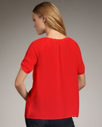 Joie - Red Jung Drawstring-neck Blouse - Lyst
