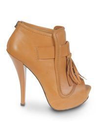 L.A.M.B. | Brown Nathan Leather Stiletto Booties | Lyst