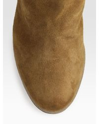 Moncler | Natural Carole Shearling and Suede Knee-high Boots | Lyst