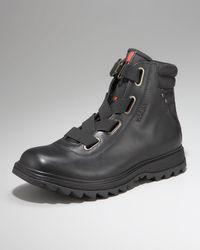 Prada | Black Leather Hiker Boots for Men | Lyst