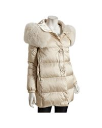 Prada | Natural Sport Powder Quilted Nylon Fox Fur Stole Down Coat | Lyst