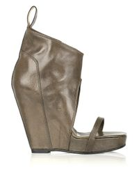 Rick Owens - Gray Open-toe Wedge Leather Ankle Boots - Lyst