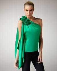 Robert Rodriguez | Green Applique Silk Top | Lyst