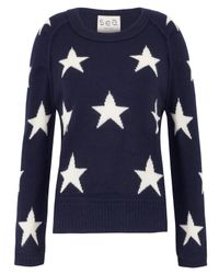 Sea Blue Navy Star Knitted Jumper