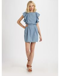 See By Chloé | Blue Ruffled Denim Dress | Lyst
