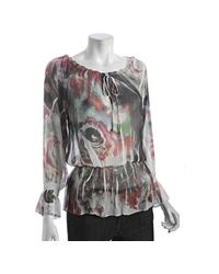 Sienna Rose | Pink Close Rose Print Chiffon Peasant Blouse | Lyst