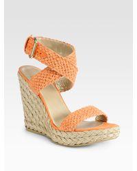 Stuart Weitzman | Orange Alex Espadrille Wedge Sandals | Lyst