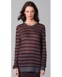 T By Alexander Wang - Red Striped Long Sleeve Tee - Lyst