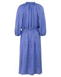 Tucker Blue Purple Silk Button Down Dot Dress