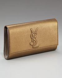 Saint Laurent | Metallic Logo Clutch, Bronze/pewter | Lyst