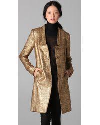 Adam Lippes - Long Metallic Tweed Coat - Lyst