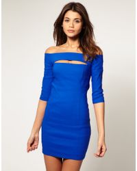 ASOS Collection | Blue Asos Off Shoulder Dress with Cut Out | Lyst