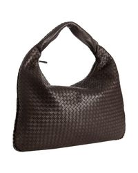 Bottega Veneta | Dark Brown Intrecciato Leather Maxi Veneta Hobo | Lyst