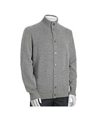 Brunello Cucinelli | Gray Grey Cashmere Standing Collar Cardigan Sweater for Men | Lyst