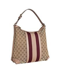 Gucci | Natural Beige and Wine Gg Canvas Vintage Web Medium Hobo | Lyst