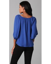 Joie - Blue Navy Silk Blouse - Lyst