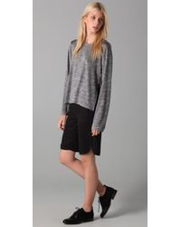 T By Alexander Wang | Gray Space Dye Long Sleeve Tee | Lyst