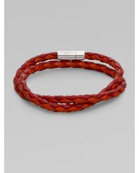 Tateossian | Red Handbraided Leather Bracelet for Men | Lyst