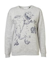 TOPSHOP Blue Dot Dino Sweat By Tee and Cake