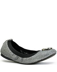 Tory Burch | Metallic Caroline - Pewter Glitter Ballet Flat | Lyst