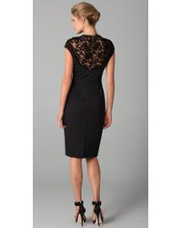Lela Rose - Black Lace and Silk-faille Dress - Lyst