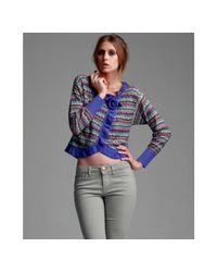 M Missoni | Purple Patterned Wool Blend Cropped Cardigan Sweater | Lyst