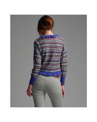 M Missoni - Purple Patterned Wool Blend Cropped Cardigan Sweater - Lyst