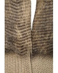 TOPSHOP Natural Knitted Faux Fur Placket Coatigan