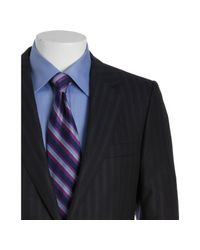 Gucci - Blue and Black Shadow Striped Wool-silk 2-button Suit with Flat Front Pants for Men - Lyst
