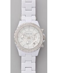 Michael Kors | White Madison Glitz Chronograph Watch | Lyst